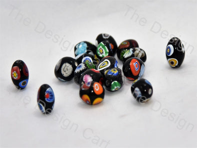 Black Small Oval Italian Chip Beads