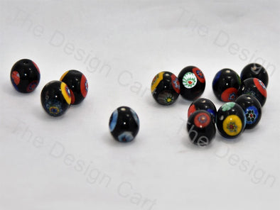 Black Large Spherical Italian Chip Beads