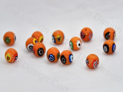 Bright Orange Large Spherical Italian Chip Beads