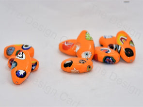 Bright Orange Boat Italian Chip Beads