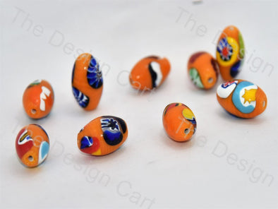Bright Orange Oval Italian Chip Beads