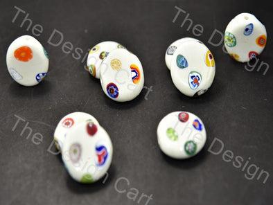 Cream / Off White Flat Circular Italian Chip Beads