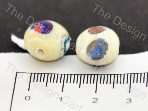 Cream / Off White Apple Italian Chip Beads - The Design Cart