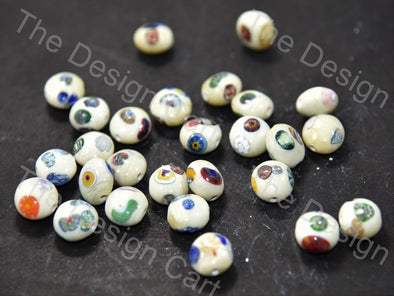 Cream / Off White Apple Italian Chip Beads
