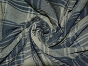 Olive Green Black Yarn Dyed Checks Cotton Fabric | The Design Cart