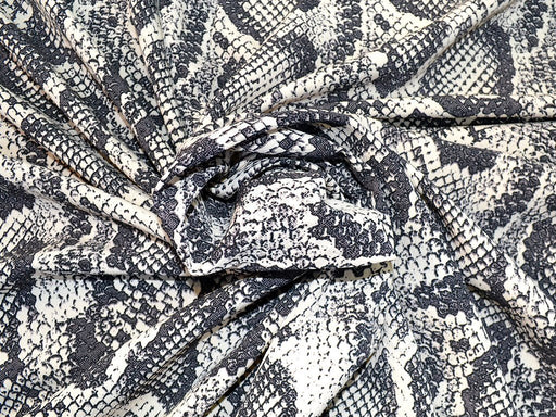 Black White Animal Design Polyester Crepe Fabric