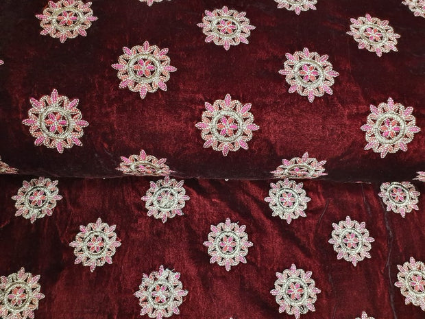 Maroon Embroidered Velvet Fabric | The Design Cart