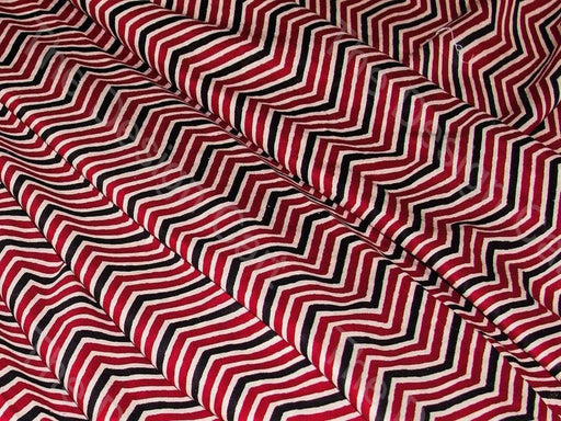 Maroon Black and White Chevron Print Cotton Fabric