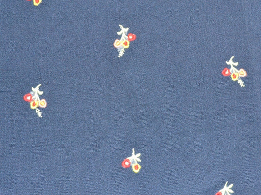 Navy Blue Floral Embroidered Rayon Crepe Fabric