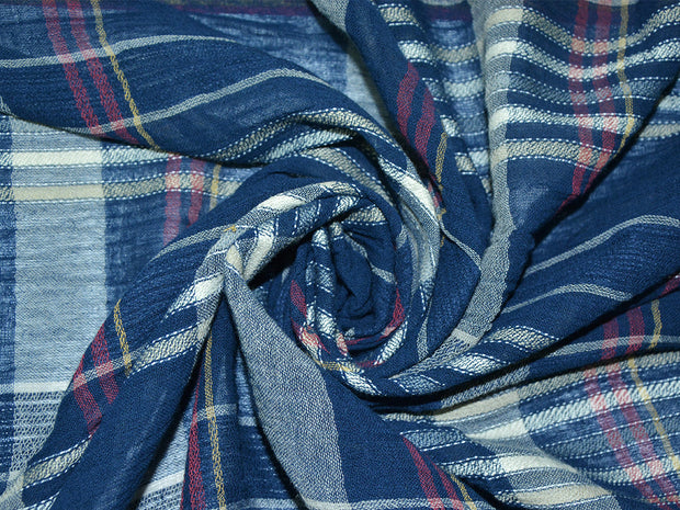 Blue White Yarn Dyed Checks Cotton Fabric | The Design Cart
