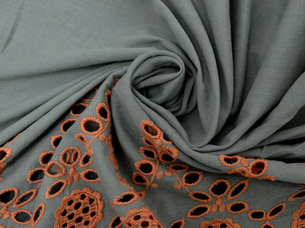Gray Fabric with Orange Embroidered Border Cotton Fabric | The Design Cart