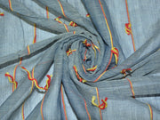 Gray Blue Embroidered Stripes Yarn Dyed Cotton Fabric | The Design Cart