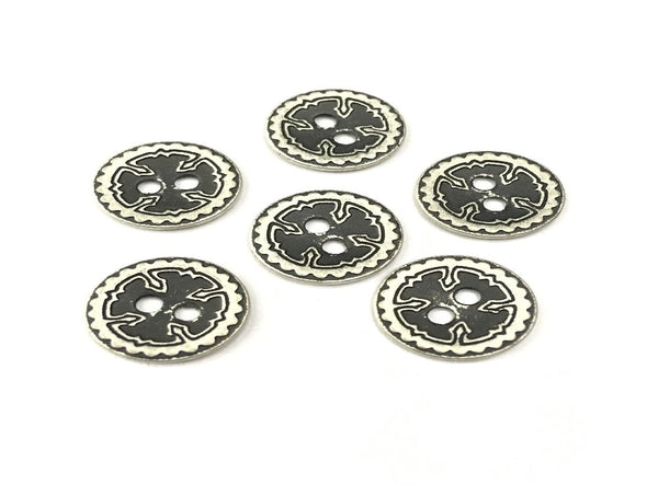 White Black Cross Metal Buttons