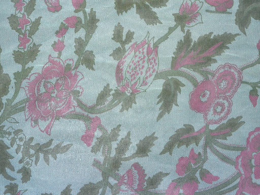Blue Floral Net Fabric