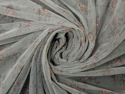 Gray Floral Net Fabric