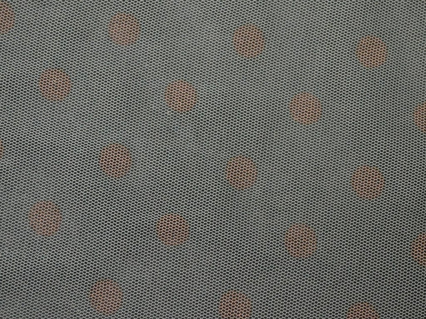 Gray Pink Polka Dots Net Fabric | The Design Cart