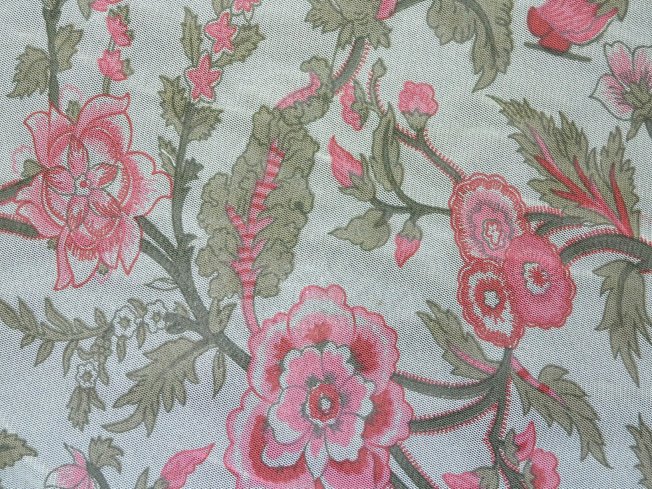 Cream Pink Floral Net Fabric