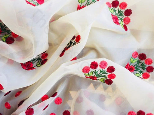 Off White Flower Design 9 Embroidered Organza Fabric