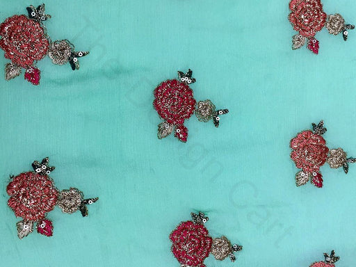 Sea Green Red Flowers Chinon Silk Fabric