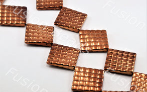 Copper Metallic Grooved Square Shaped Plastic Stone