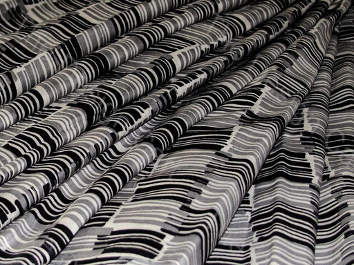 Black and Gray Piano Bar Design Cotton Fabric