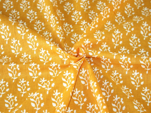 Yellow Flower Print Design Cotton Fabric (1707982225442)