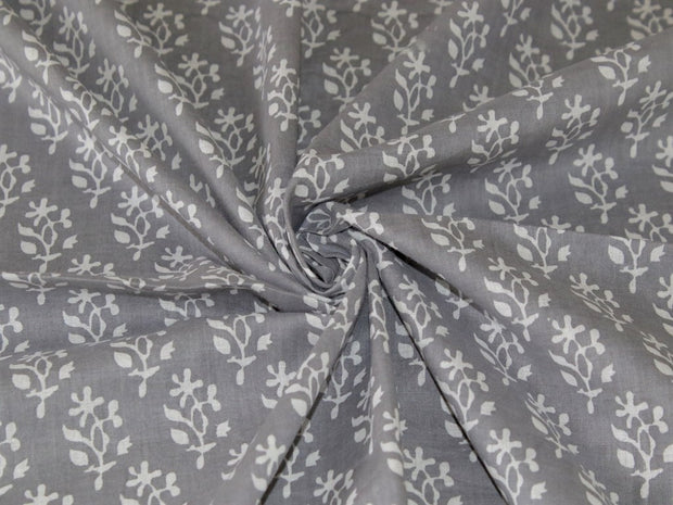 Gray Floral Cotton Fabric | The Design Cart (4332038193221)