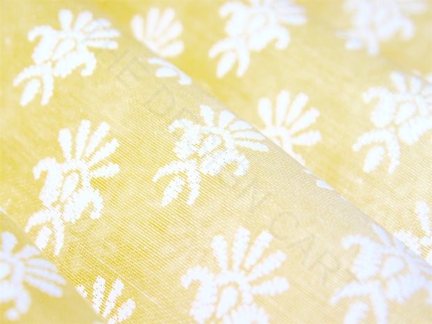Yellow Motifs Chanderi Polyester Fabric | The Design Cart