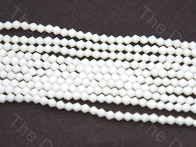 Opaque White Bicone Crystal Beads