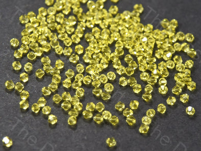 Yellow Bicone Crystal Beads