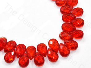 Red Top Hole Drop Crystal Beads