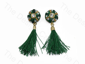 Dark Green Tassel Buttons