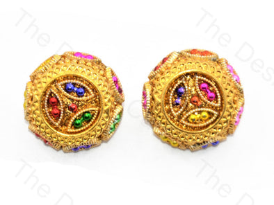 Colorful Beads Golden Handcrafted Button
