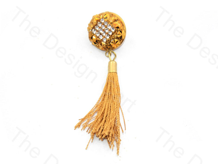 Square Stones Golden Handcrafted Tassel Button (440464605218)