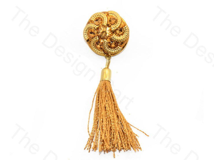 Spiral Flower Design Golden Handcrafted Tassel Button (440464637986)