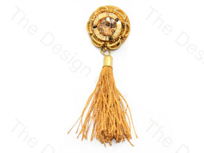Sunflower Dial Stone Golden Handcrafted Tassel Button