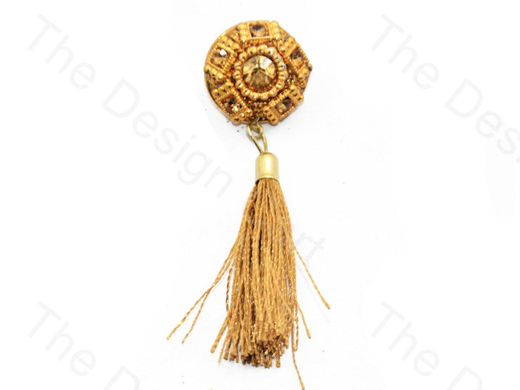 5 Rectangles Golden Handcrafted Tassel Button