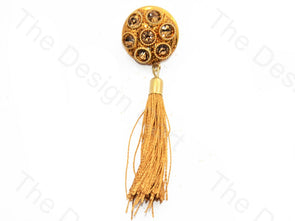 7 Stones Golden Handcrafted Tassel Button
