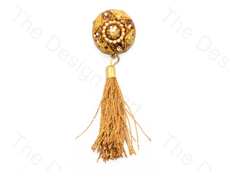 4 Golden Stones Golden Handcrafted Tassel Button (440464801826)