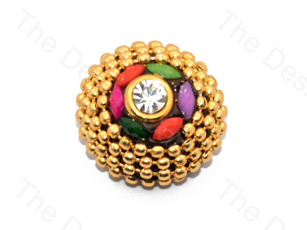 4 Concentric Circles Multicolor Small Golden Handcrafted Button