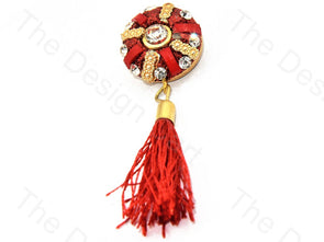 Red 3 Bars Tassel Buttons