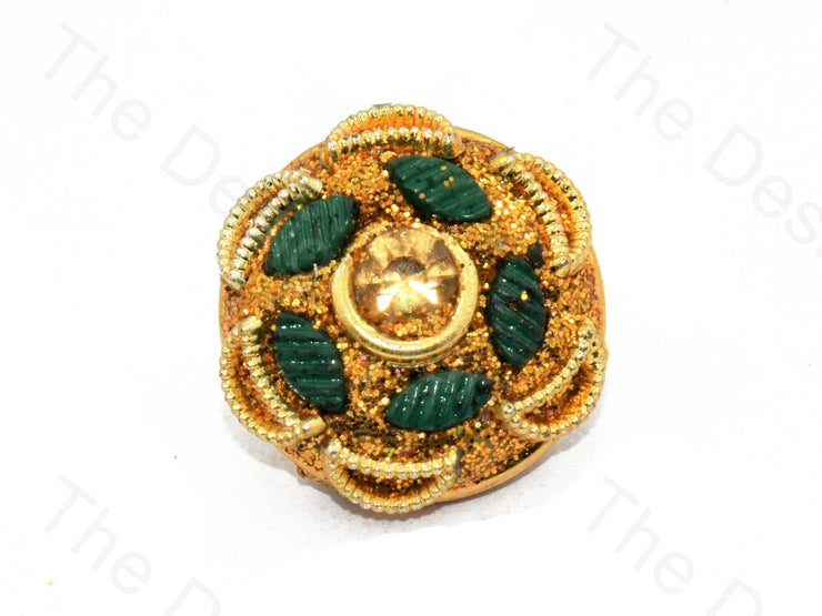 Green Leaves Golden Handcrafted Buttons (444300525602)