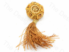 5 Rectangles Golden Handcrafted Tassel Buttons