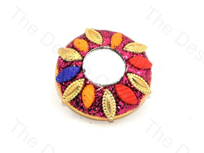 Multicolour Leaves Pink Glass Handcrafted Buttons