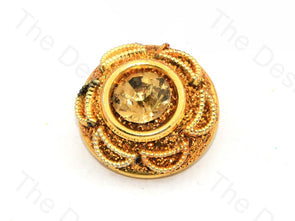 Sunflower Center Stone Golden Handcrafted Buttons