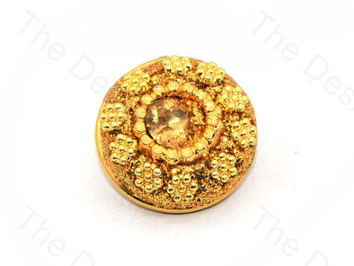 Golden Flowers Center Stone Golden Handcrafted Buttons