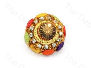 Multicolour Leaves Center Stone Golden Handcrafted Buttons