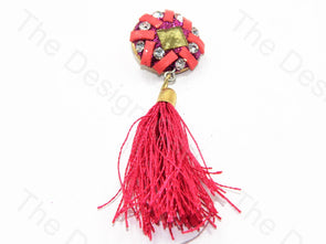 Pink Glass Handcrafted Tassel Buttons