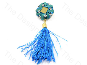 Sea Green Blue Glass Handcrafted Tassel Buttons