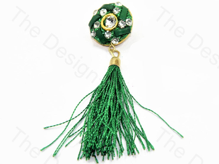 Green Stone Handcrafted Tassel Buttons (446431428642)